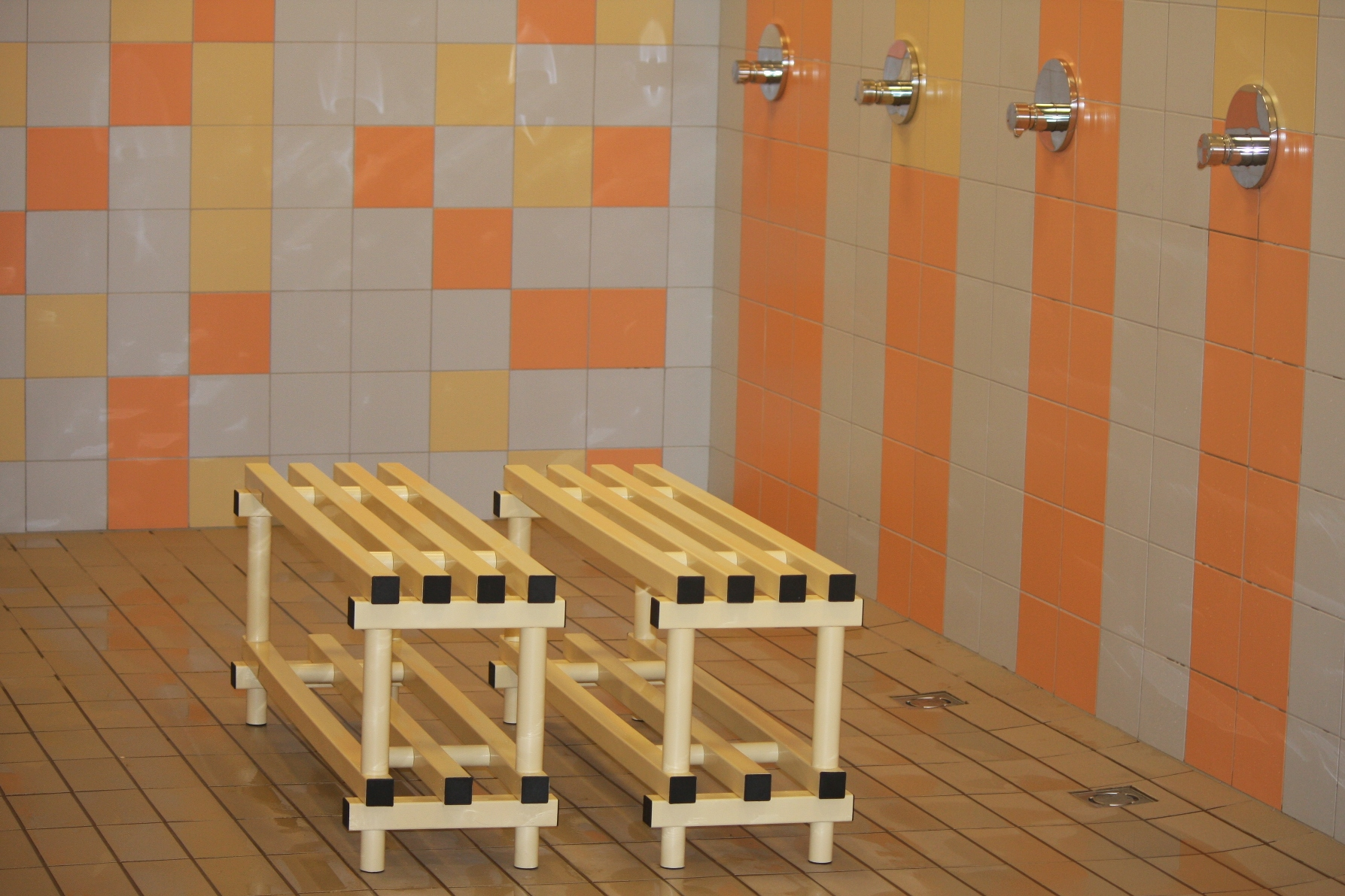Benches at shower